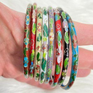 Vintage Cloisonné Enamel Bangle Bracelets Set of 8
